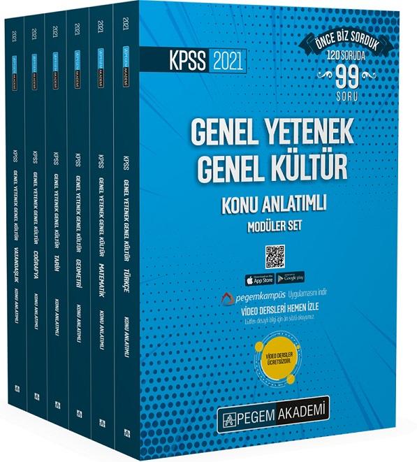 Pegem 2021 KPSS GY-GK Video Destekli Konu Anlatımlı Modüler Set - 6 Kitap