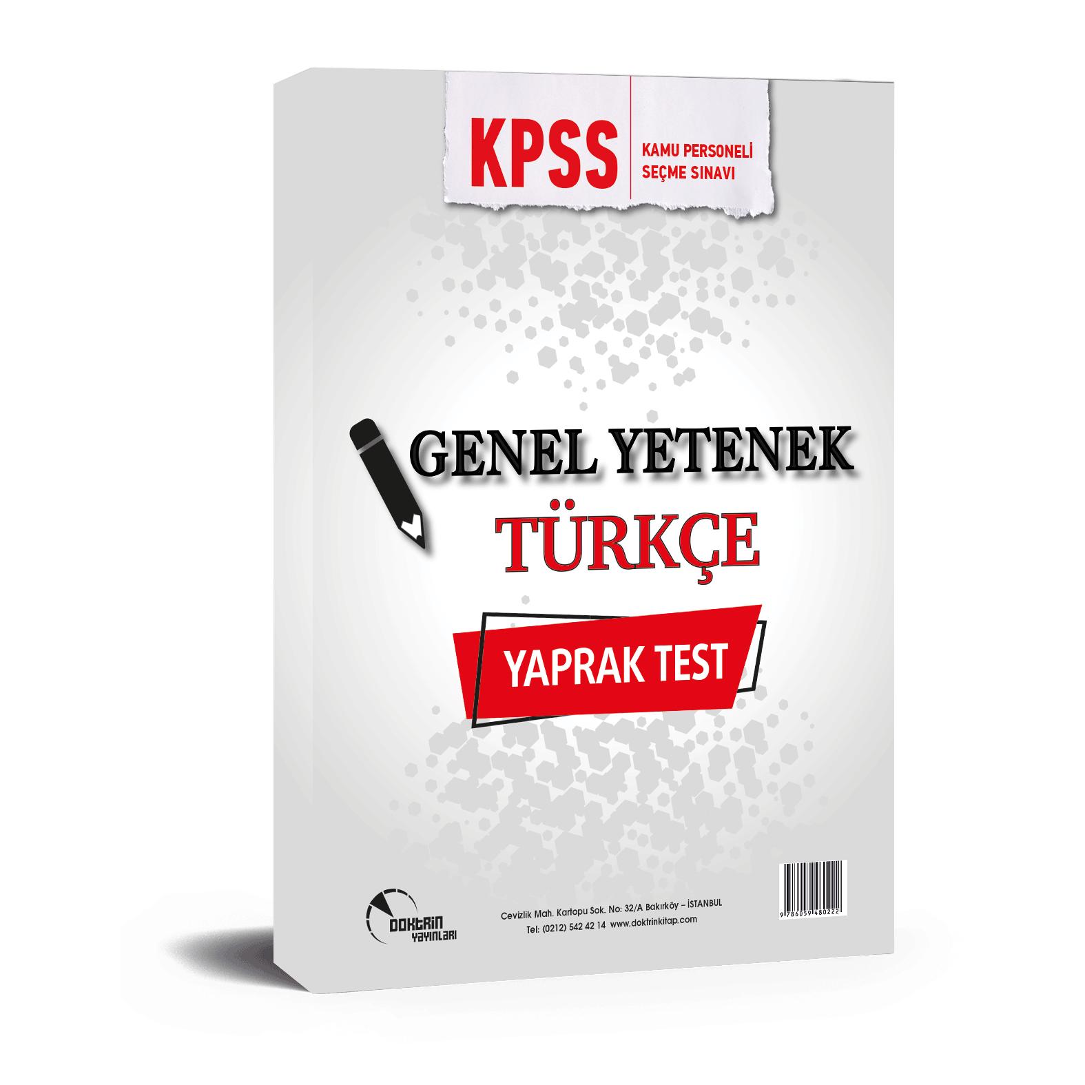 2020 KPSS Türkçe Yaprak Test