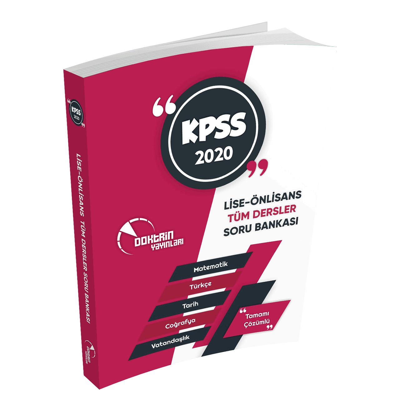 2020 KPSS Lise Önlisans Tüm Dersler Tamamı Çözümlü Soru Bankası